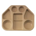 "Cambro 14187TRCW133 Trapezoid Camwear Tray - 7 Compartment, 18x14x1 1/2"" Beige"