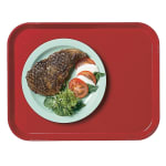 "Cambro 1418CL675 Fiberglass Camlite® Cafeteria Tray - 18""L  x 14""W, Steel Red"