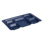 "Cambro 1596CP186 Rectangular Camwear Tray - 6 Compartment, 9x15"" Navy Blue"