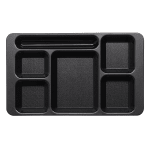 "Cambro 1596CW110 Rectangular Camwear Tray - 6-Compartment, 9x15"" Black"