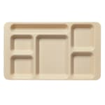 "Cambro 1596CW133 Rectangular Camwear Tray - 6 Compartment, 9x15"" Beige"