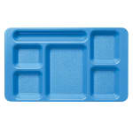 "Cambro 1596CW168 Rectangular Camwear Tray - 6-Compartment, 9x15"" Blue"