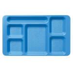 "Cambro 1596CW168 Rectangular Camwear Tray - 6 Compartment, 9x15"" Blue"