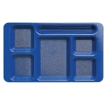 "Cambro 1596CW186 Rectangular Camwear Tray - 6-Compartment, 9x15"" Polycarbonate, Navy Blue"