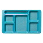 "Cambro 1596CW414 Rectangular Camwear Tray - 6-Compartment, 9x15"" Polycarbonate, Teal"