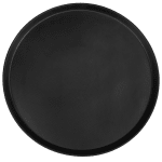 "Cambro 1950CT110 19 7/16"" Round Camtread Serving Tray - Low Profile, Black Satin"