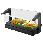 "Cambro BBR480110 Tabletop Salad Bar, w/Sneeze Guard, 48""L x 24""H, 3-Pan, Black"