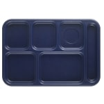 "Cambro BCT1014186 Rectangular Budget School Tray - 10x14-1/2"" 6-Compartment, Navy Blue"