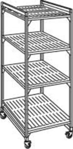 "Cambro EMU244878 580 Mobile Starter Shelving Unit - (4)Shelf, 24x48x78"" Brushed Graphite"