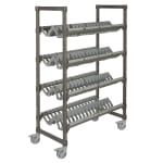 Cambro EMU244878PDPKG 4 Level Mobile Angled Drying Rack for Kitchenware, Speckled Gray