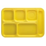 "Cambro PS1014145 Rectangular Penny-Saver School Tray - 6 Compartment, 10x14 1/2"" Yellow"