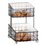 Cal-Mil 1203-49 2-Tier Bread & Bagel Unit w/ Plastic Inserts & Hinged Tops, Chrome