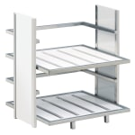 "Cal-Mil 1278-15 2 Tier Display Stand - 14""W x 11.5""D x 15""H, Silver/White Bamboo"