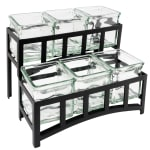 "Cal-Mil 172313 2-Tier Countertop Condiment Caddy Organizer w/ 6-Jars & 14x9x7"", Black"