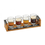 Cal-Mil 22011-99 4 Section Beer Taster Flight w/ Chalkboard - Wire Rings, Wood