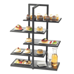 Cal-Mil 3303-96 5 Tier One by One Display Server Shelf - Midnight Bamboo