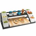 """Cal-Mil 3455 Display Stand w/ Cutting Board & (3) Jars - 28.5""""W x 12.5""""D x 9.75""""H, Metal, Black"""