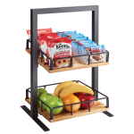 "Cal-Mil 3494-2-99 2 Tier Display Stand w/ Adjustable Wood Shelves - 12""W x 12""D x 21""H, Metal, Black"
