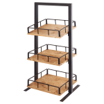 "Cal-Mil 3494-3-99 3 Tier Display Stand w/ Adjustable Wood Shelves - 12""W x 12""D x 31""H, Metal, Black"