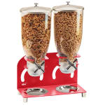 Cal-Mil 2/14/3510 Countertop Cereal Dispenser w/ (2) 3.5 liter Containers - Metal Stand, Red