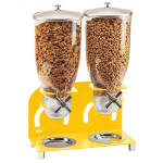 Cal-Mil 3510-2-42 Countertop Cereal Dispenser w/ (2) 3.5 liter Containers - Metal Stand, Yellow
