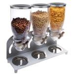 Cal-Mil 3510-3-39 Countertop Cereal Dispenser w/ (3) 3.5 liter Containers - Metal Stand, Platinum