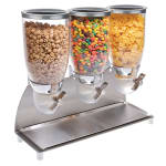Cal-Mil 3511-3-55 Countertop Cereal Dispenser w/ (3) 3.5 liter Containers - Metal Stand, Stainless Steel
