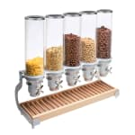 Cal-Mil 3515-5-98 Countertop Cereal Dispenser w/ (5) 4.5 liter Containers - Metal/Wood Stand