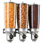 Cal-Mil 3518-3-39FF Wall-Mount Cereal Dispenser w/ (3) 5 liter Containers, Platinum