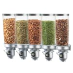 Cal-Mil 3518-5-39 Wall-Mount Cereal Dispenser w/ (5) 5 liter Containers, Platinum