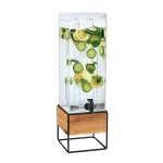 Cal-Mil 3561-3INF-99 3 gal Beverage Dispenser w/ Infusion Chamber - Plastic w/ Wood & Black Metal Base