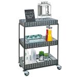 "Cal-Mil 3583-13 Mobile Beverage Service Cart w/ (3) Shelves - 29""W x 18.5""D x 41.75""H, Iron, Black"