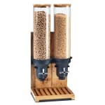 Cal-Mil 3584-2-99 Countertop Cereal Dispenser w/ (2) 4.5 liter Containers - Wood Stand