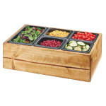 "Cal-Mil 3585-99 Salad Station w/ (5) Pan Inserts - 22""W x 14""D x 7""H, Reclaimed Wood"