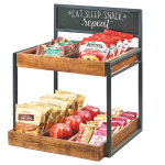 "Cal-Mil 3607-13 2 Tier Display Stand w/ Wood Trays & Chalkboard Sign- 15""W x 14""D x 19""H, Metal, Black"