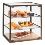 Cal-Mil 3610 3 Tier Pastry Display Case w/ Hinged Doors - Antique Metal Frame, Acrylic