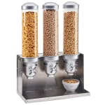 Cal-Mil 3626-55 Countertop Cereal Dispenser w/ (3) 4.5 liter Containers - Metal Stand, Stainless Steel