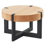 "Cal-Mil 3642-9-71 9.5"" Round Buffet Riser - 6""H, Maple/Black Metal"
