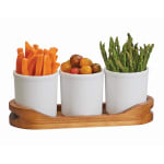 "Cal-Mil 3647-16-99 Condiment Display w/ (3) 16 oz Melamine Jars - 13""W x 4.5""D x 4.5""H, Reclaimed Wood"