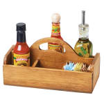 "Cal-Mil 3691-99 6 Section Condiment Caddy w/ Handle - 10.25"" x 5"", Reclaimed Wood"