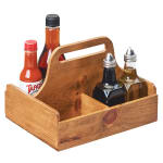 "Cal-Mil 3692-99 4 Section Condiment Caddy w/ Handle - 9.75"" x 8"", Reclaimed Wood"