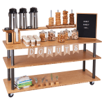"Cal-Mil 3698-60 72"" Beverage Service Cart w/ (3) Levels, Bamboo"