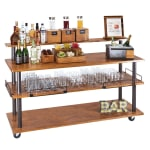 "Cal-Mil 3698-84 72"" Beverage Service Cart w/ (3) Levels, Metal/Wood"