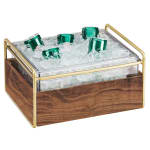 "Cal-Mil 3702-10-46 Ice Housing w/ Clear Pan - 13.75""W x 11.25""D x 7.25""H, Wood/Brass"