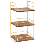 "Cal-Mil 3704-3-46 2 Tier Display Stand w/ Adjustable Wood Shelves - 13""W x 12""D x 26""H, Brass"