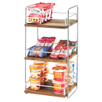 "Cal-Mil 3704-3-49 2 Tier Display Stand w/ Adjustable Wood Shelves - 13""W x 12""D x 26""H, Chrome"