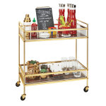 "Cal-Mil 3719-46 Mobile Beverage Service Cart w/ (2) Shelves - 27""W x 16""D x 36""H, Brass"