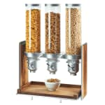 Cal-Mil 3720-49 Countertop Cereal Dispenser w/ (3) 4.5 liter Containers - Wood Stand, Walnut/Chrome