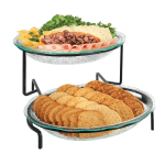 Cal-Mil GL2400-13 2-Tier Oval Glacier Bowl Display - Green Acrylic, Black