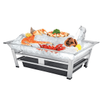 "Cal-Mil IP1020-13 Ice Display Pedestal - Water Containment Unit, Ice Pan, Drain, 27x19x10"", Black"